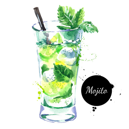 Hand drawn sketch watercolor cocktail Mojito.