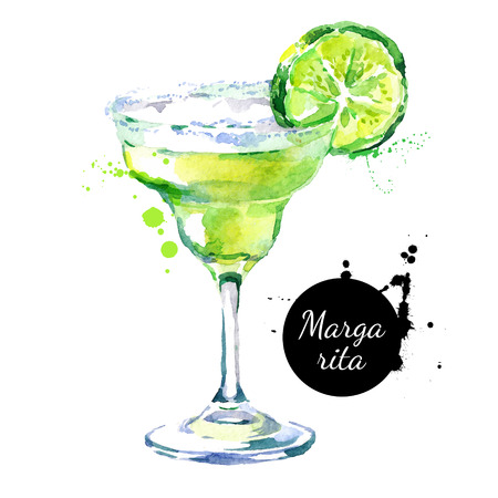 Hand drawn sketch watercolor cocktail Margarita. Illustration