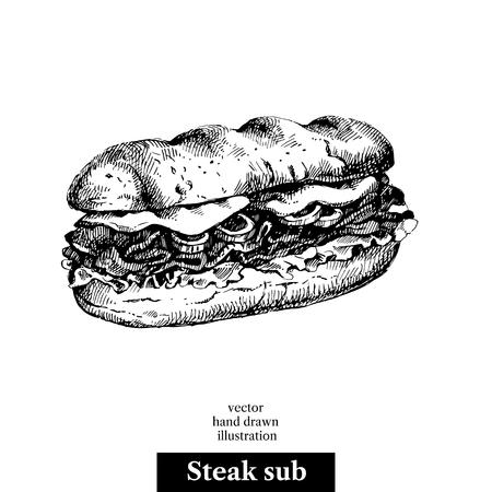 Hand drawn sketch steak sub sandwich