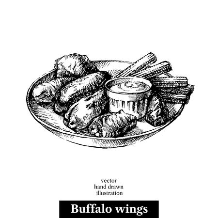 Ręcznie narysowany szkic buffalo skrzydełka z kurczaka. Ilustracje wektorowe