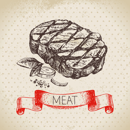 Hand drawn sketch meat product. Vector vintage  ribeye steak illustration. Menu design