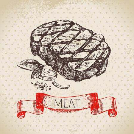 Hand drawn sketch meat product. Vector vintage  ribeye steak illustration. Menu design