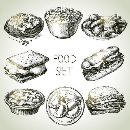 Hand drawn food sketch set of steak sub sandwich, pie dessert, smores wafer crackers, macaroni and cheese, buffalo chicken wings, homemade pierogi dumplings, backed potato, beef sandwich. Vector black and white vintage illustrations