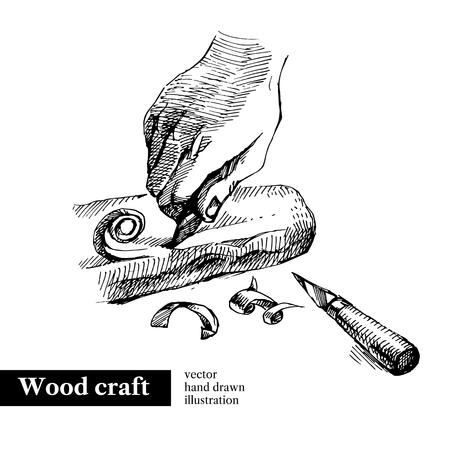 Hand drawn sketch hands of craftsman wooden carving. Vector black and white vintage illustration Illustration