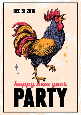 vintage poster: Vintage holiday poster for Merry Christmas and Happy New Year party with hand drawn sketch rooster portrait. Vector illustration for card, print, fashion design and t-shirt graphics