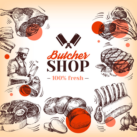 Hand drawn sketch meat butcher shop . Vector vintage illustration. Menu poster design