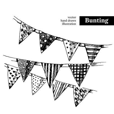 Hand drawn sketch holidays bunting flags. Vector black and white vintage illustration