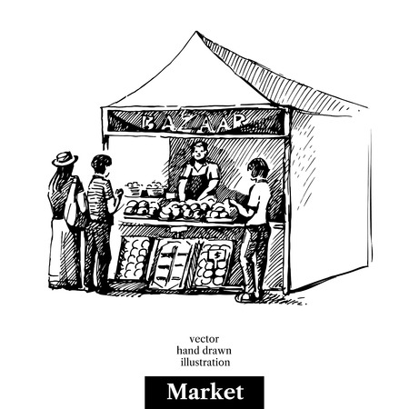 Hand drawn sketch market bazaar stall vegetables fruits food counter with people. Vector black and white vintage illustration