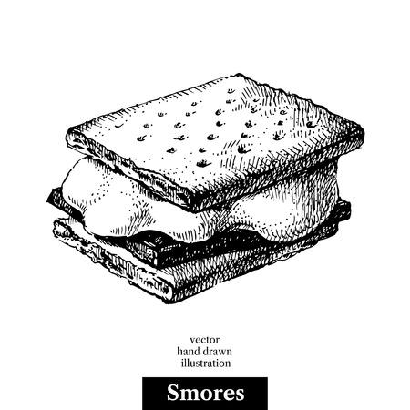 Hand getrokken schets smores wafer crackers met gesmolten marshmallows en chocolade. Vector zwart-witte uitstekende illustratie. Geïsoleerde object. menu ontwerp Stock Illustratie