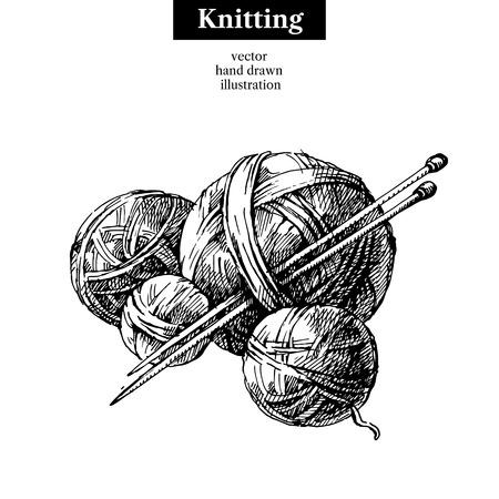 Handgetekende schetsgarenbal met naalden voor breien. Vector zwart-wit vintage illustratie