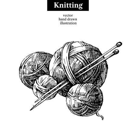 Hand drawn sketch yarn ball with needles for knitting. Vector black and white vintage illustration Vettoriali