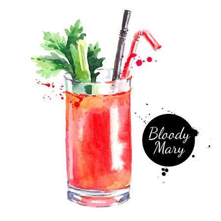 Hand drawn sketch watercolor cocktail Bloody Mary. Vector isolated food illustration