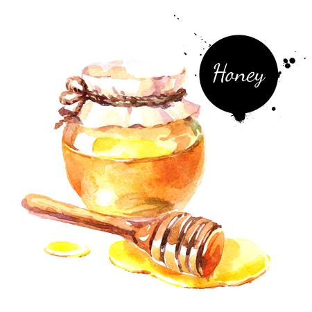 水彩の手描きの新鮮な蜂蜜。白い背景の上の隔離された有機自然環境図