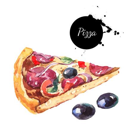 Aquarel pizza en olijven. Geïsoleerde voedselillustratie op witte achtergrond
