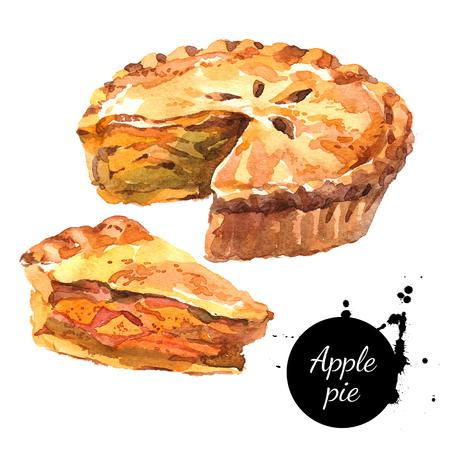 Watercolour zelfgemaakte organische appeltaart dessert. Geïsoleerde voedsel illustratie op witte achtergrond Stockfoto