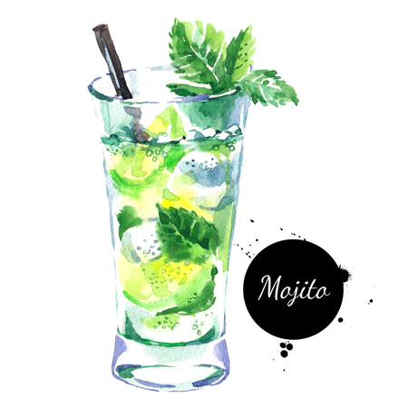 Hand drawn sketch watercolor cocktail Mojito. Isolated food illustration