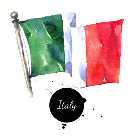 Watercolor Italy flag. Hand drawn illustration on white background