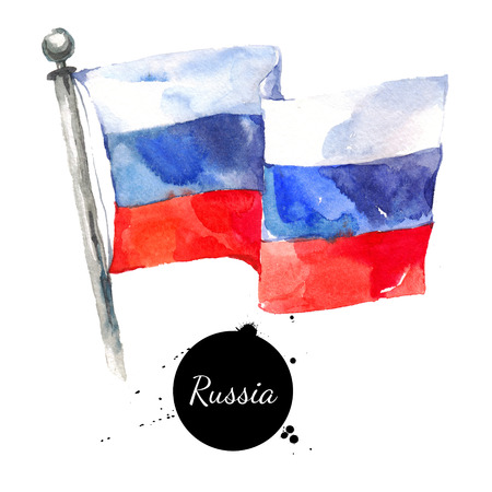 Watercolor Russia flag. Hand drawn Russian flag illustration on white background