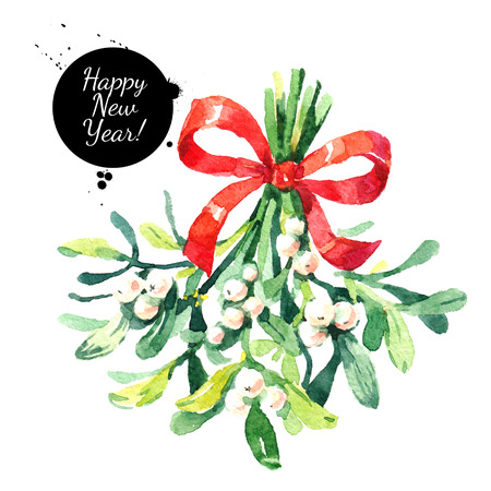 Watercolor green christmas mistletoe isolated illustration