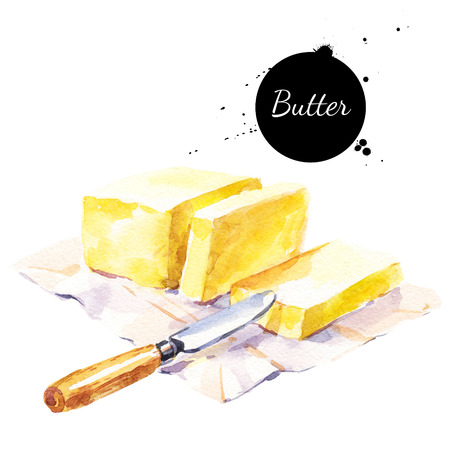 Watercolor stick of butter and knife. Isolated eco natural food illustration on white background Standard-Bild