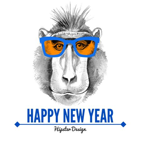 Merry Christmas and Happy New Year card with watercolor portrait of hipster monkey. Hand drawn illustration for fashion print, poster for textiles, fashion design and t-shirt graphics
