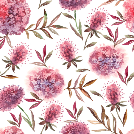 Watercolor hand drawn abstract floral seamless pattern. Painted isolated flowers illustration on white background