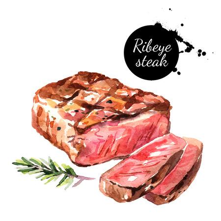 水彩のリブアイ ステーキ。白い背景の上の隔離された食品イラスト