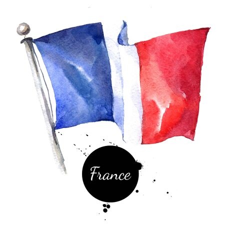 Watercolor France flag. Hand drawn illustration on white background Imagens