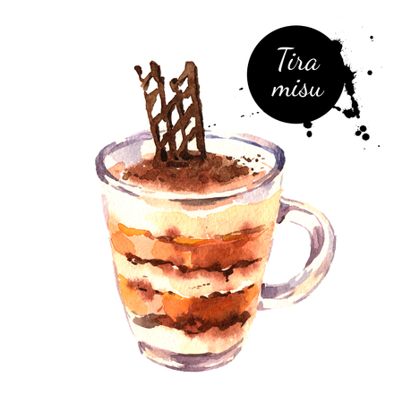 Watercolor tiramisu dessert with cinnamon coffee and chocolate in glass. Isolated food illustration on white background Stok Fotoğraf