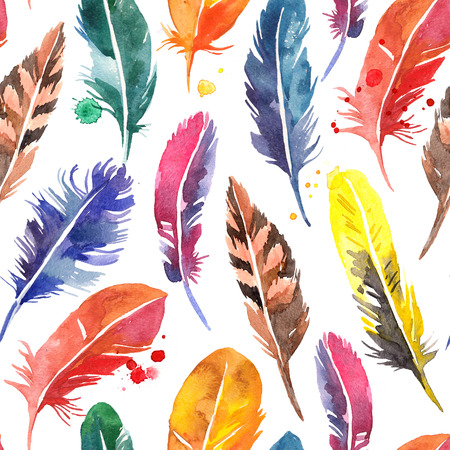 Watercolor hand drawn feathers seamless pattern. Painted isolated illustration on white background