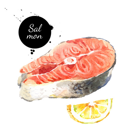 Watercolor hand drawn piece of salmon fish and lemon. Isolated fresh seafood vector illustration on white background