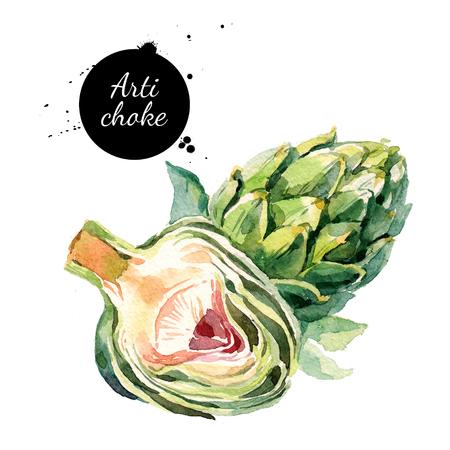 Watercolor artichokes. Isolated eco food illustration on white background Archivio Fotografico