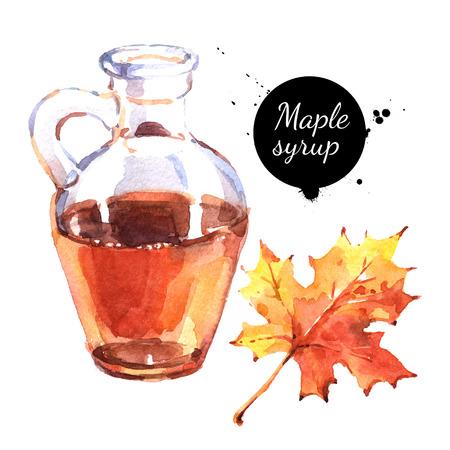 Aquarel hand getrokken ahornsiroop in een glazen fles en de herfstblad. Geïsoleerde eco natuurlijke voedsel illustratie op een witte achtergrond Stockfoto