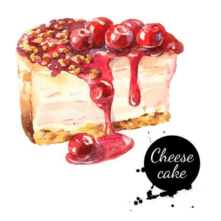 porcion de torta: Bosquejo de la acuarela cerezo pastel de queso de postre. ilustración de alimentos en el fondo blanco