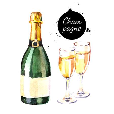 Watercolor champagne bottle and glasses icon. Isolated alcoholic cocktail beverage drink illustration on white background