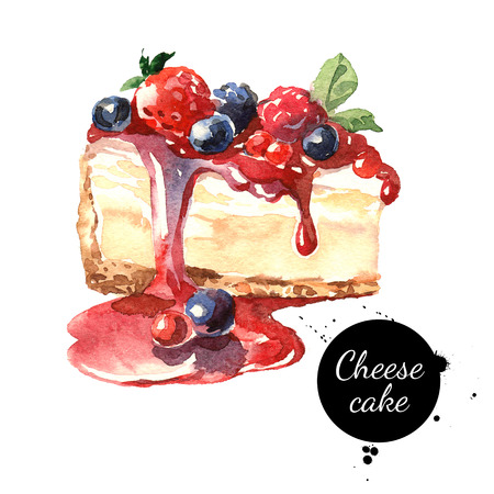 Watercolor cheesecake dessert. Isolated food illustration on white background 스톡 콘텐츠