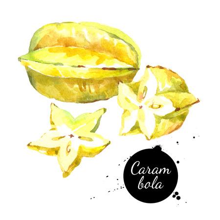 Aquarel hand getekende fris geel fruit carambola. Geïsoleerde organische natuurlijke ecoillustratie op witte achtergrond Stockfoto
