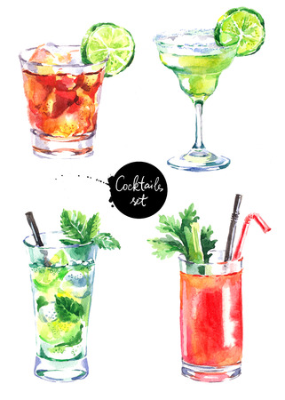 Hand drawn sketch watercolor cocktails set. Painted isolated drink and food menu illustrations