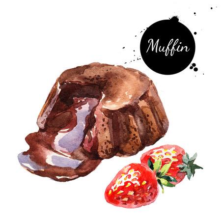 水彩画は、チョコレートのマフィン スフレ デザートを溶かします。白い背景の上の隔離された食品イラスト