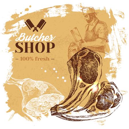 Fond de magasin de viande de croquis dessinés à la main de croquis. Illustration vintage de vecteur. Conception d'affiche de menu Vecteurs