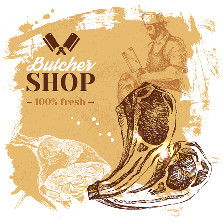 Ręcznie rysowane szkic tło mięsnego sklep mięsny. Vintage ilustracji wektorowych. Projekt plakatu menu Ilustracje wektorowe