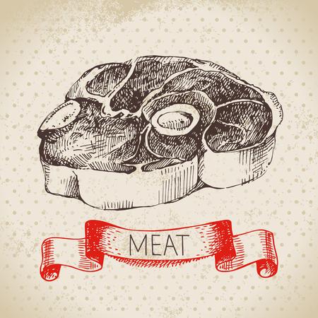 손으로 그린 스케치 고기 제품. 벡터 빈티지 쇠고기 그림입니다. 메뉴 디자인 스톡 콘텐츠 - 92872678
