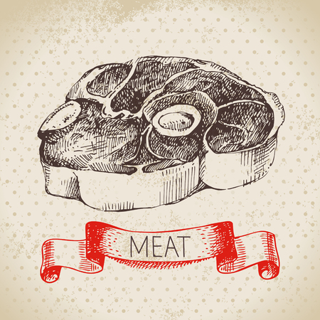 Hand drawn sketch meat product. Vector vintage beef illustration. Menu design