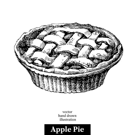Hand drawn sketch homemade organic apple pie dessert. Vector black and white vintage illustration. Isolated object on white background. Menu design Vectores