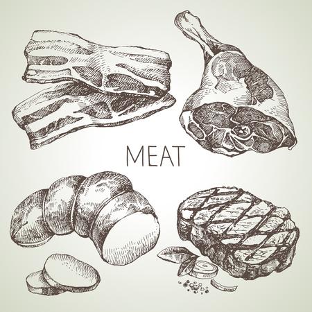 손으로 그린 스케치 고기 제품을 설정합니다. 벡터 흑백 빈티지 그림입니다. 흰색 배경에 고립 된 개체입니다. 메뉴 디자인