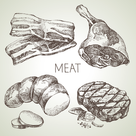 Hand drawn sketch meat products set. Vector black and white vintage illustration. Isolated object on white background. Menu design