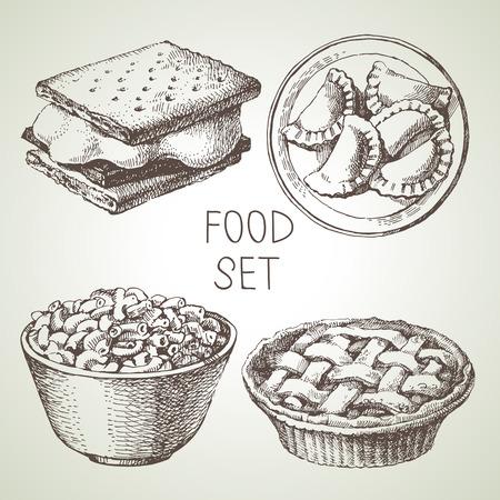 アップルパイデザート、スモアウエハークラッカー、マカロニとチーズ、自家製ピエロギ餃子の手描きの食品スケッチセット。ベクトル黒と白のヴ  イラスト・ベクター素材