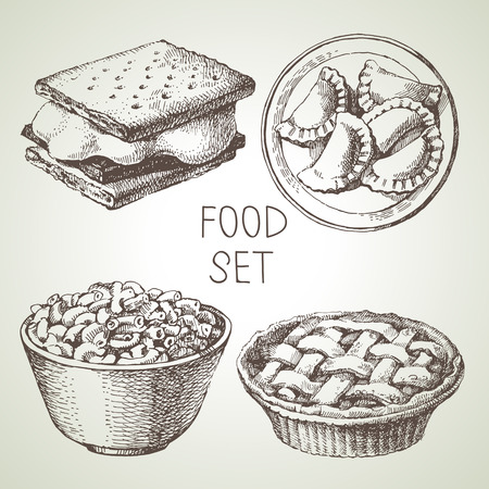 Hand drawn food sketch set of apple pie dessert, smores wafer crackers, macaroni and cheese, homemade pierogi dumplings. Vector black and white vintage illustrations