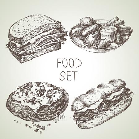 Boceto de alimentos dibujados a mano conjunto de bistec sándwich sub, alitas de pollo búfalo, patatas con respaldo, sándwich de carne de vacuno. Vector ilustraciones vintage en blanco y negro