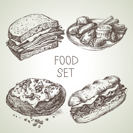Hand drawn food sketch set of steak sub sandwich, buffalo chicken wings, backed potato, beef sandwich. Vector black and white vintage illustrations